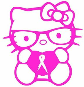 Breast Cancer Ribbon Hello Kitty Decal 4 Vinyl Car Window Sticker 13 Colors