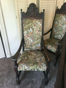 2 Renaissance Revival Antique Carved Wood Tapestry Tall Back Arm Chair Knight