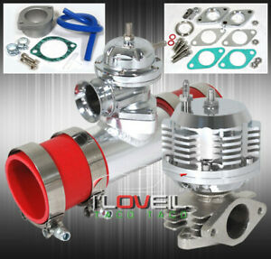 Turbo Charger Combo Kit Blow Off Valve 8psi Wastegate Adapter Flange Coupler Red