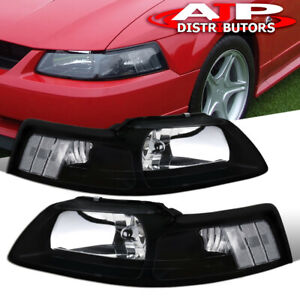 For 1999 2004 Ford Mustang Gt Black Housing Clear Reflector 1pc Headlights Lamps