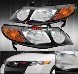2006 2011 Honda Civic 4dr Sedan Black Housing Amber Reflector Headlights Lamps