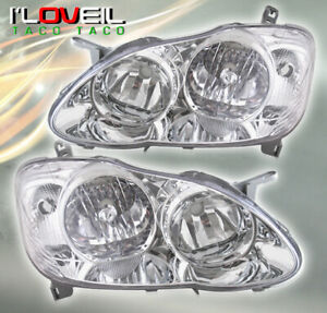 For 2003 2008 Toyota Corolla Jdm Style Headlights Chrome Housing Clear Reflector