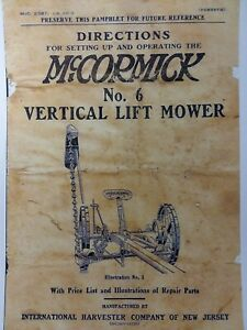Mccormick 6 Vertical Lift Sickle Mower Knife Grinder Operator Parts Manuals