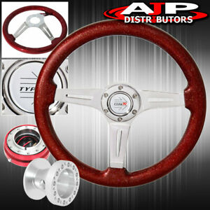 Sparkle Red Wood Steering Wheel Red Slim Quick Release Hub For 99 00 Civic