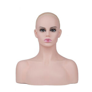 New Realistic Women Mannequin Head Display Hat Glasses Necklace Model Wig Db496a