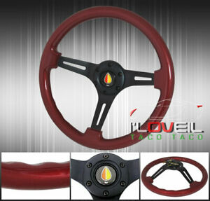 Red Wood Black Center Orange Yellow Jdm Leaf Steering Wheel Horn Button Small
