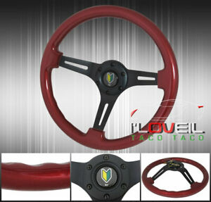 13 5 Small Red Wood Steering Wheel Black Jdm Leaf Button Horn Badge 6 bolt Hole