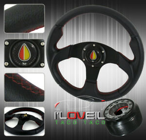 For Toyota Mr2 Jdm Black Red Stitching Steering Wheel adapter Hub Combo Kit