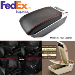 Dual decker Car Center Console Armrest Box Cup Hold Telescopic Style Pu Leather