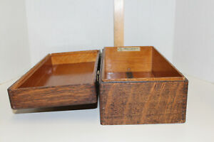 Original Yawman Erbe Oak One Drawer Library Index Card File Box Cabinet