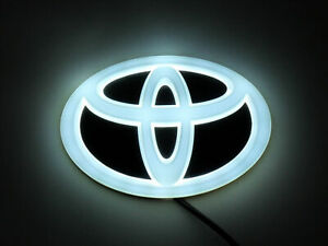 New Backlit Chrome White Led Oval Badge Emblem Lamp For Toyota Free Ship