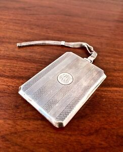 Elgin Mfg Co Solid Sterling Silver Change Bill Purse W Mesh Wristlet Compact