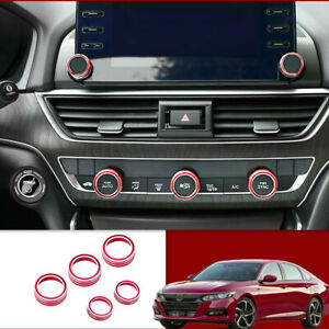 Fit For Honda Accord 2018 2019 Red Interior Dashboard Button Circle Trim 5pcs