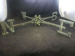 Vtg Weathervane Directionals Arms Brass Patina 24 Ornate Different Then Others