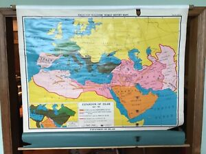 Vintage Nystrom Expansion Of Islam 622 750 Muslim Caliphate Pull Down School Map