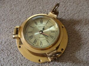 Vintage Ship S Time Nautical Brass Porthole Clock With Quartz As Is