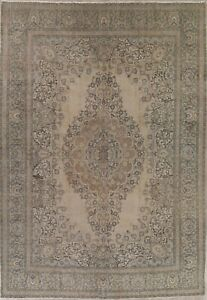 Antique Geometric Muted Signed Persian Oriental Large Distressed Wool Rug 11x16