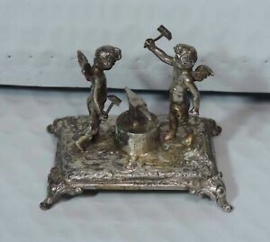 Antique Sterling 900 Silver Cherub Blacksmiths Over Anvil With Hammers Figurine