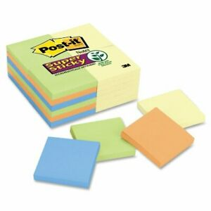 Post it Super Sticky Notes In Canary Yellow electric Glow Colors Self adhesive