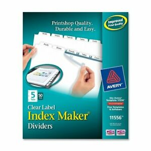 Avery Index Maker Label Divider 8 50 X 11 250 Box White Tab ave11556