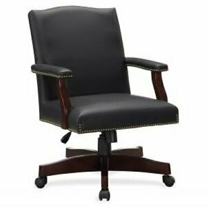 Lorell Traditional Executive Bonded Leather Chair Bonded Leather Black Seat