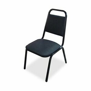Lorell 8926 Upholstered Stacking Chair Vinyl Black Seat Back Steel Black