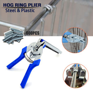 Hog Ring Plier Tool 600pcs M Clips Chicken Mesh Cage Wire Fencing Joint Welding