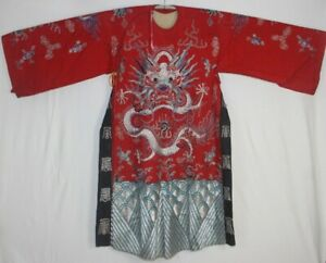 Chinese Old Hand Embroidery Dragons Costume Long Robe