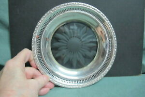 Frank M Whiting Co Sterling Silver Glass Wine Coaster Plate 1658 Talisman Rose