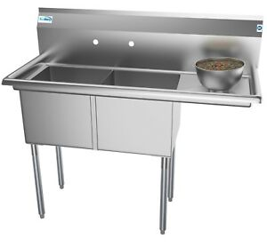 2 Basin Nsf Stainless Steel Commercial Prep Sink For Restaurant W Drainboard