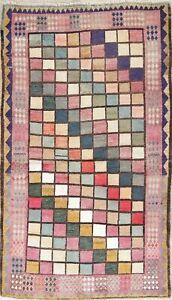 Checked Pastel Color Gabbeh Persian Modern Area Rug Oriental Faded Wool 4 X 6