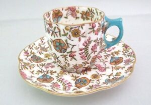 Antique Porcelain Demitasse Cup Saucer Hand Painted Asian Chintz Flowers