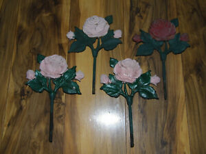 4 Vintage Cast Iron Architectural Salvage Pink Red Roses With Stems Stakes