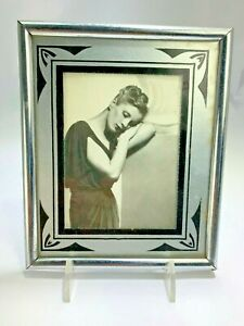 Vintage Art Deco Black On Glass Picture Frame 4 X 3