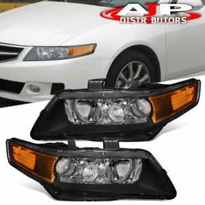 Replacement Black Housing Amber Headlight Lamp Pair For 2004 2008 Acura Tsx