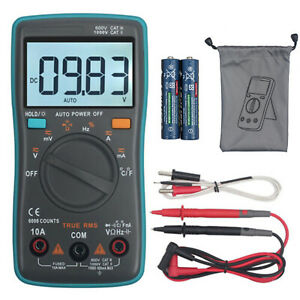 6000counts Trms Digital Multimeter Dc ac Auto Range Voltage Current Meter Tester
