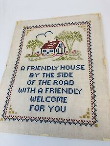 Vintage Cross Stitch Sampler A Friendly House By The Side Of The Road