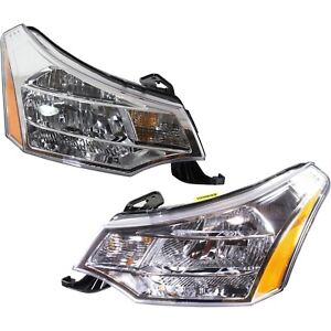 Headlight Set For 2008 2011 Ford Focus Left And Right Chrome Housing Capa 2pc