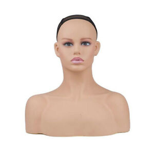 New Realistic Women Mannequin Head Display Wig Hat Glasses Necklace Model Db3880