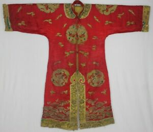Chinese Old Hand Embroidery Costume Long 8dragons Robe