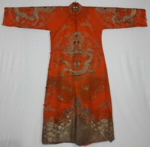 Chinese Old Hand Embroidery Gold Dragons Costume Long Robe