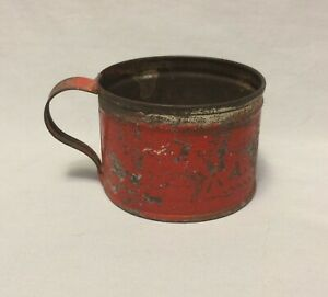 Antique Primitive Hand Made Childs Size Tin Cup W Original Red Paint A Present