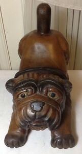 Large Vintage Cute Hand Carved Large Brown Wood Pug Dog Figurine Statue Heavy