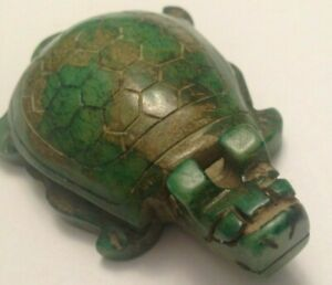 Chinese Old Natural Jade Hand Carved Dragon Tortoise Turtle Statue Pendant
