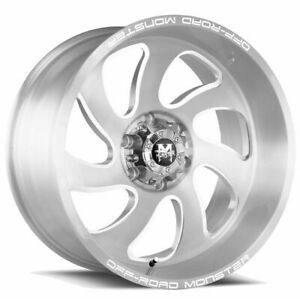 22x12 Off Road Monster M07 6x5 5 6x139 7 44 Silver Brushed Wheels Rims Set 4