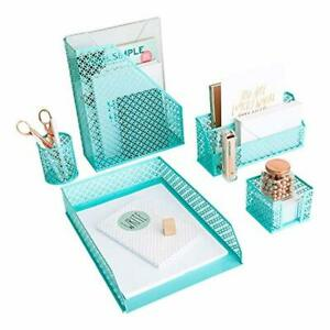 Aqua Teal 5 Piece Cute Desk Organizer Set Desk Organizers And Accessories Fo