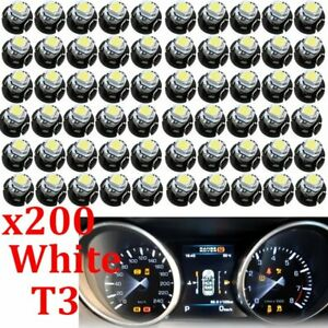 200pcs White T3 Led Bulb Neo Wedge 1smd Car Instrument Cluster Panel Dash Lights