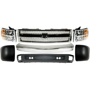 Bumper Kit For 2007 2008 Chevy Silverado 1500 Front All Cab Types 7pc
