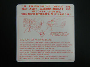 1962 Buick Skylark Special Wagon Trunk Bumper Jack Instructions Decal 62 New