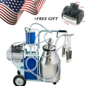 Stainless Steel Electric Milking Machine Milker Farm Goats Cows Bucket 25l Usa